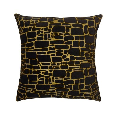 """20""""x20"""" Oversize Printed Faux Fur Square Throw Pillow Black/Gold - Edie@Home"""