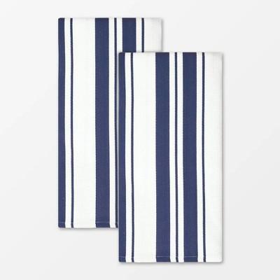 Set of 2 Cotton Stripe Towel Navy - MU Kitchen