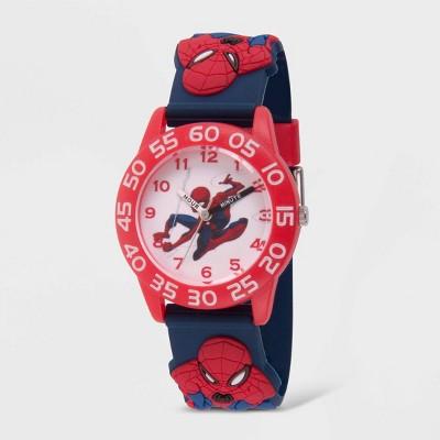 Kids' Marvel Spider-Man Plastic Time Teacher Strap Watch - Blue