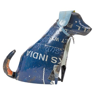 3.5  Metal Recycled Dog Sitting Large - Multi Color - Foreside Home & Garden