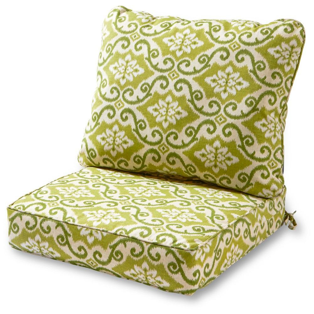 Image of 2pc Shoreham Ikat Outdoor Deep Seat Cushion Set - Kensington Garden, Green