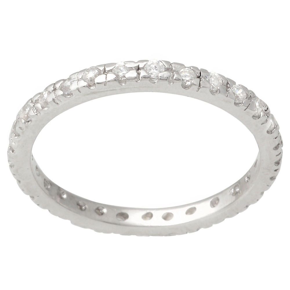 1/3 CT. T.W. Round-cut Cubic Zirconia Slim Eternity Pave Set Band in Sterling Silver - Silver, 7, Girl's