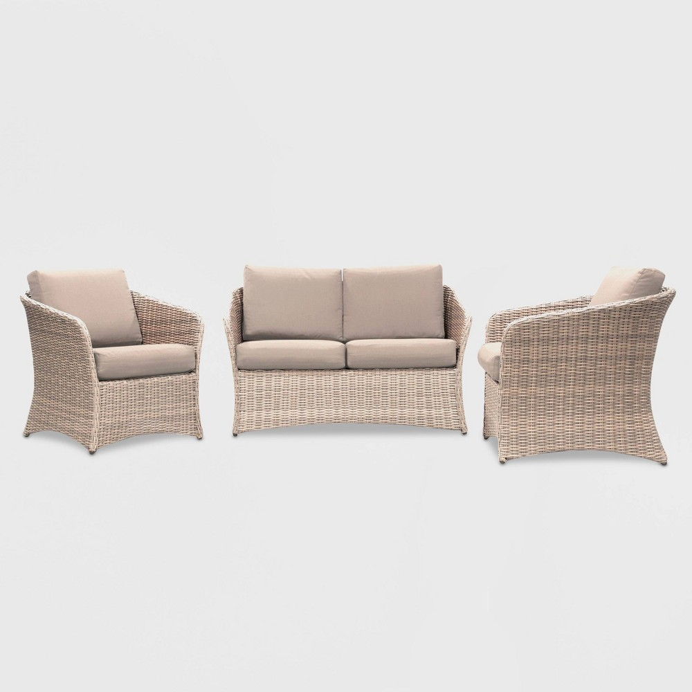 Montgomery 3pc Patio Seating Set with Sunbrella Fabric - Tan - Leisure Made