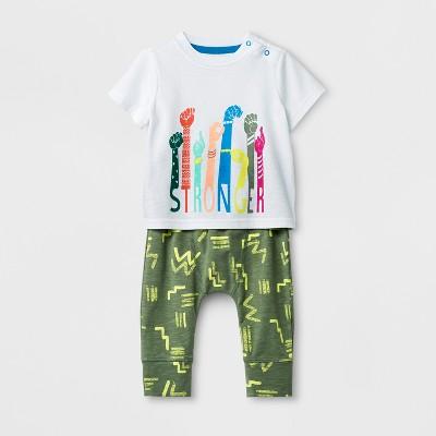 Baby Boys' 2pc Short Sleeve T-Shirt and Jogger Set - Cat & Jack™ White/Green 0-3M