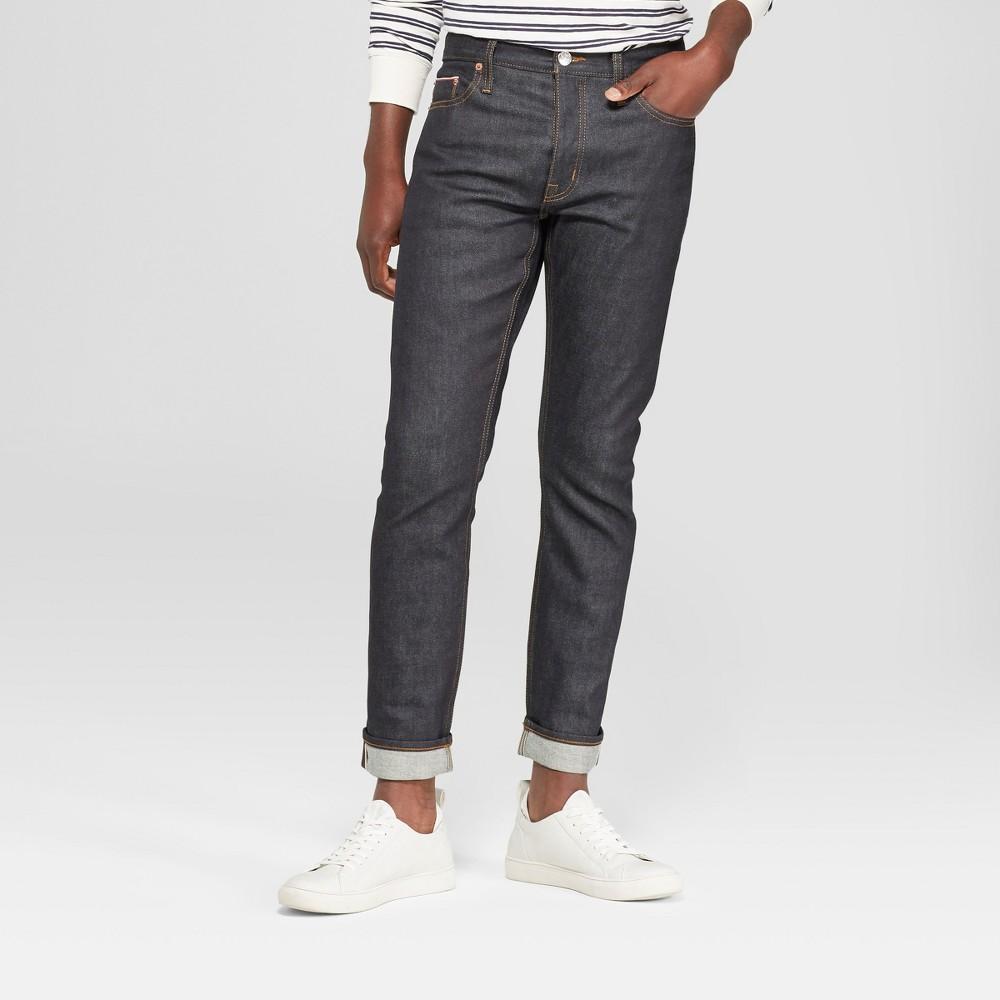 Men's Slim Fit Raw Stretch Selvedge Denim - Goodfellow & Co Dark Rinse 29x32, Blue