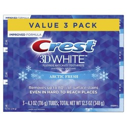 Crest 3D White Whitening Toothpaste, Arctic Fresh, Icy Cool Mint Flavor, 4.1 oz, Pack of 3