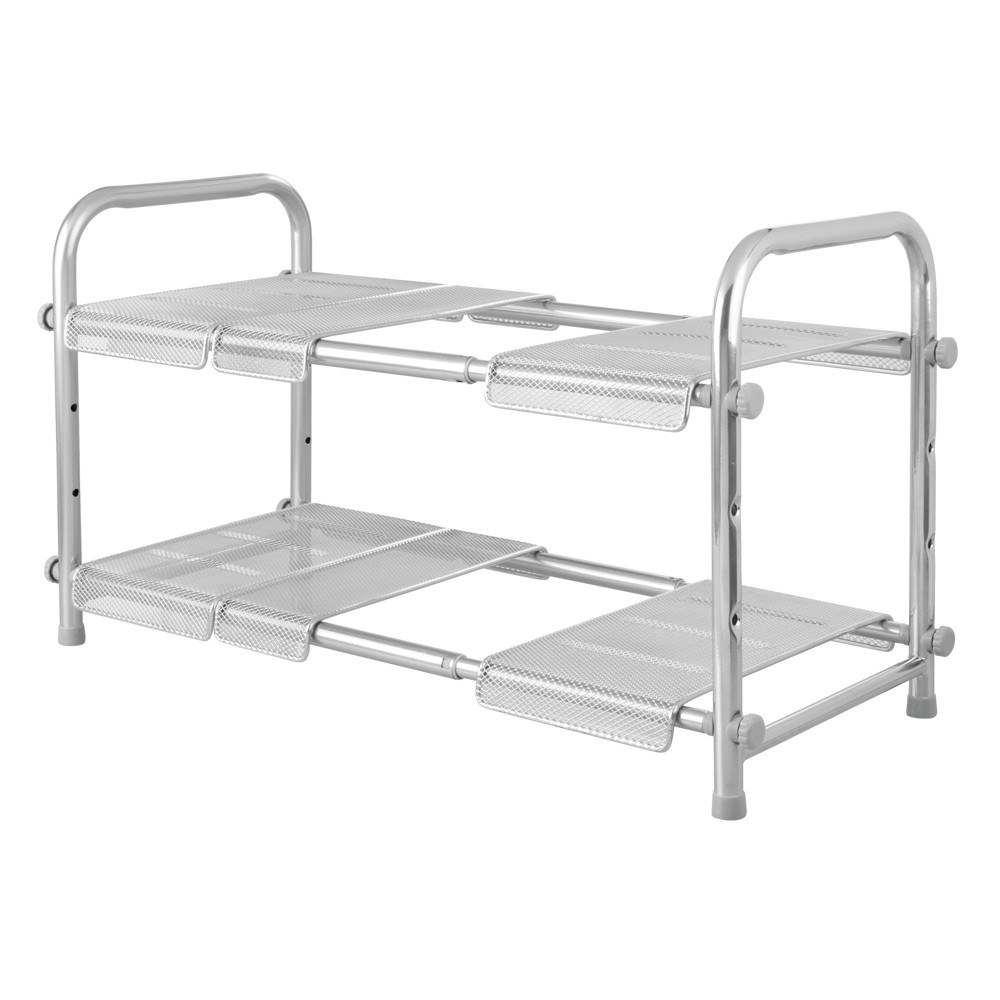 Image of InterDesign Expandable and Stackable Storage Shelves Silver