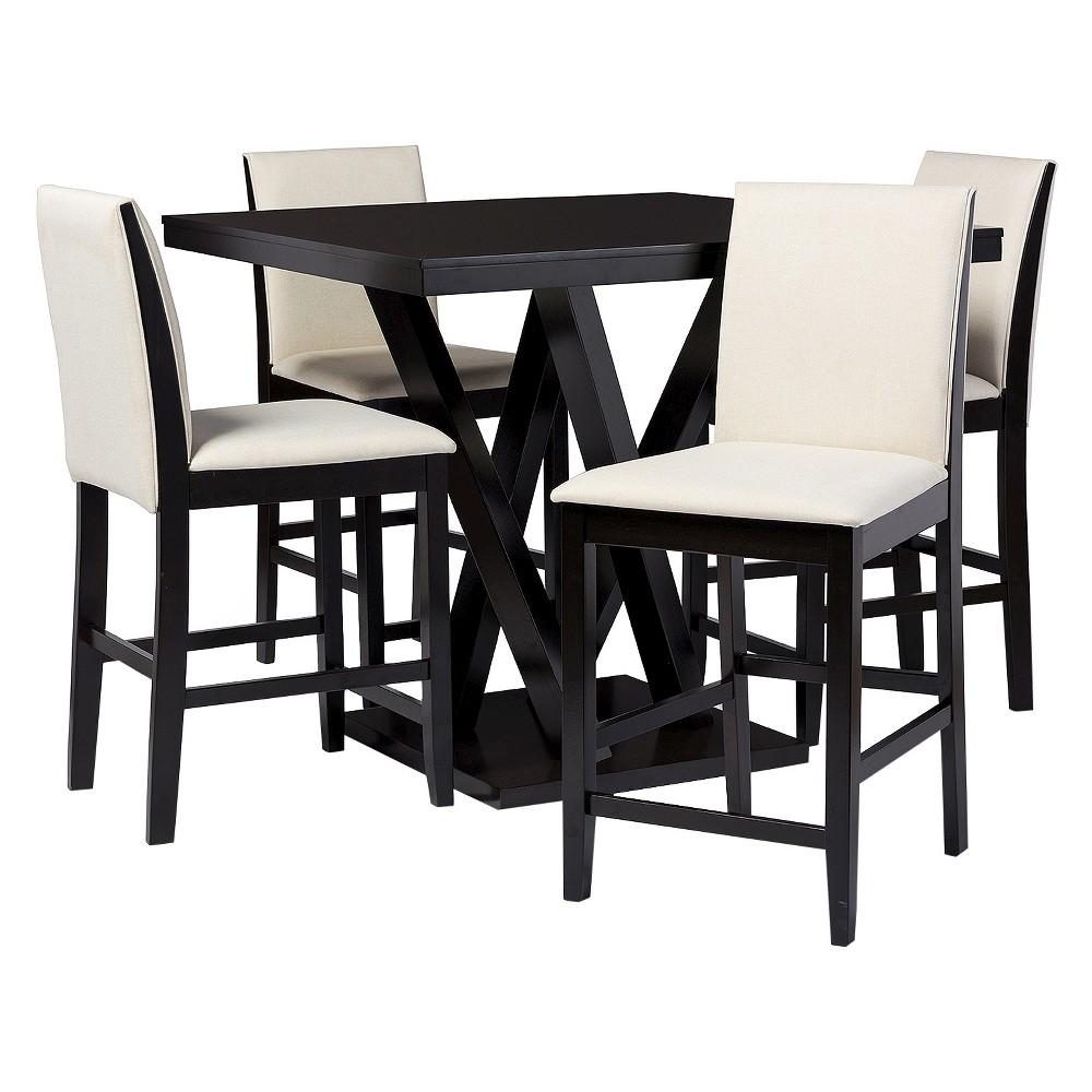 Everdon 5 Piece Modern Pub Table Set - Dark Brown - Baxton Studio