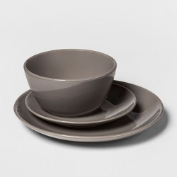 12pc Stoneware Avesta Dinnerware Set Gray - Project 62™