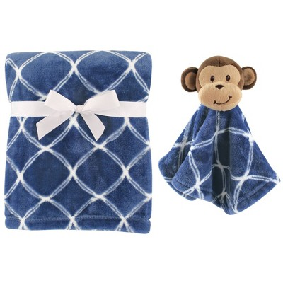 Hudson Baby Unisex Baby Plush Blanket with Security Blanket - Monkey One Size
