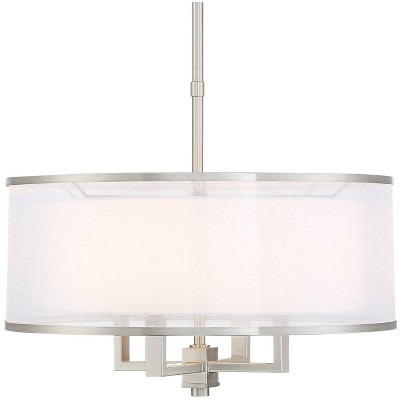 "Possini Euro Design Brushed Nickel Drum Pendant Chandelier 21"" Wide Silver Organza White Shade 4-Light Fixture for Dining Room"