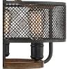 "Franklin Iron Works Farmhouse Ceiling Light Semi Flush Mount Fixture Black Mesh Wood 16"" Wide 3-Light for Bedroom Kitchen Hallway - image 3 of 4"