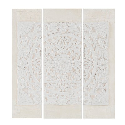 Wooden Mandala 3D Embellished Canvas 3pc Decorative Wall Art Set White