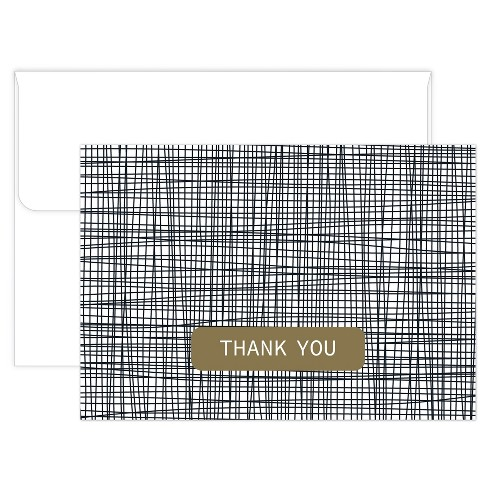 50ct Black Cross Stitch Thank Card Pack - image 1 of 1