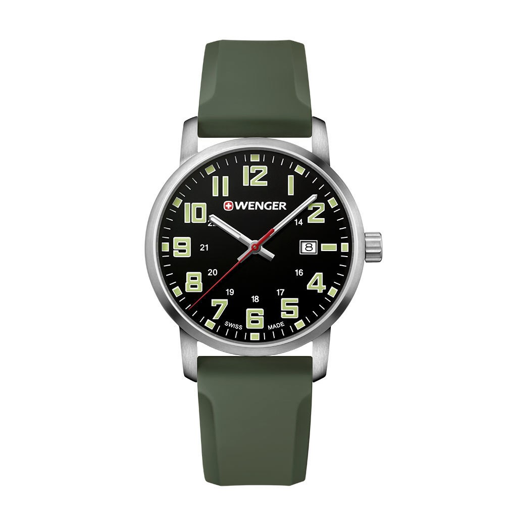 Image of Men's Wenger Avenue - Swiss Made - Black Dial Silicone Strap watch - Green, Size: Small, Green Black