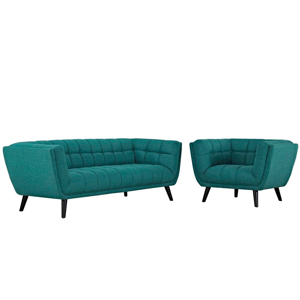 2pc Bestow Upholstered Fabric Sofa and Armchair Set Teal (Blue) - Modway