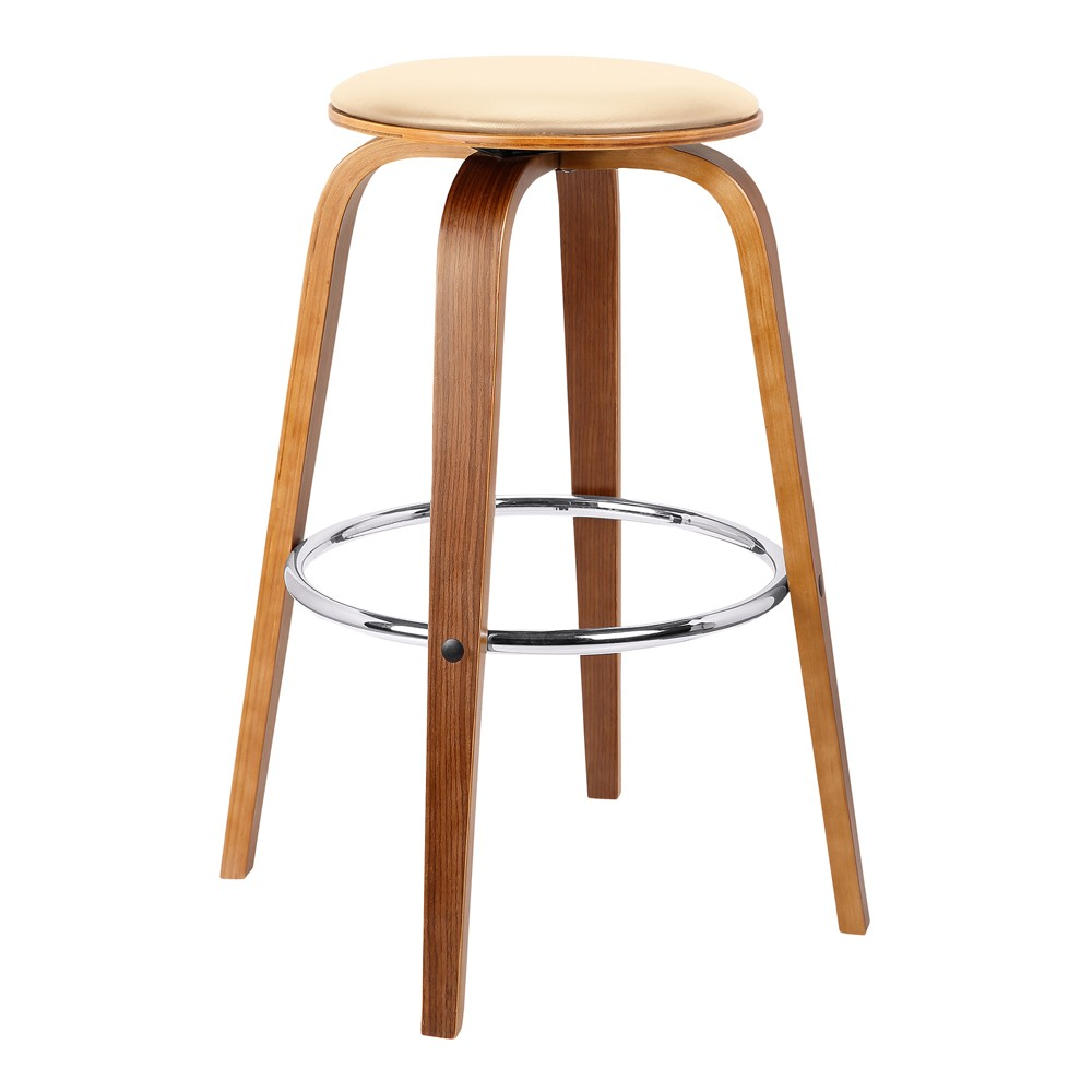 30 Harbor Mid-Century Swivel Bar Height Backless Barstool in Cream (Ivory) Faux Leather with Walnut Veneer - Armen Living