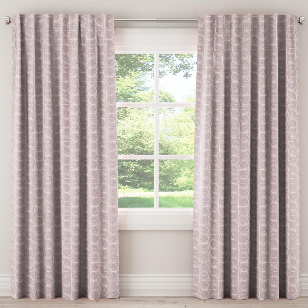 Blackout Curtain Block Print Blush 108L - Skyline Furniture