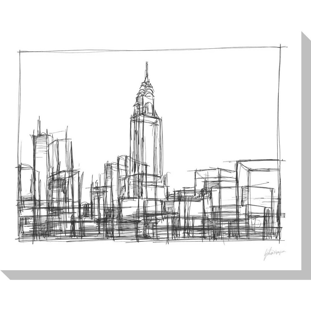 Image of Wire Frame Cityscape II Unframed Wall Canvas Art - (24X30)