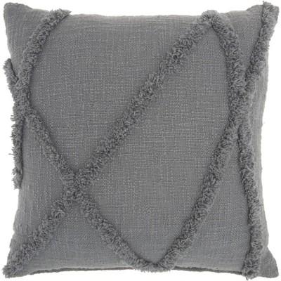 """18""""x18"""" Distressed Diamond Throw Pillow Gray - Nourison"""