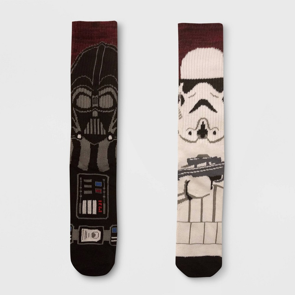 Image of Men's Star Wars Darth Vader 2pk Mismatched Athletic Crew Socks - Red 6-12, Size: Small