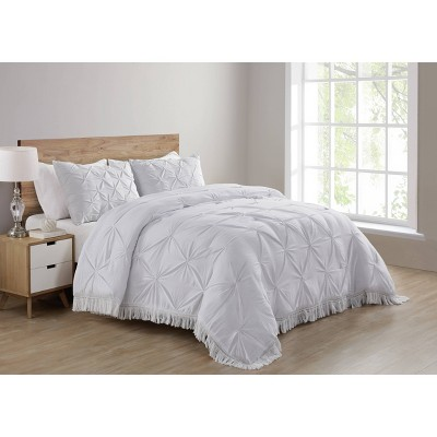 Full/Queen Aria Tassel Soft Wash Pintuck Comforter Set White - VCNY Home
