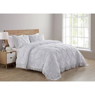 King Aria Tassel Soft Wash Pintuck Comforter Set White - VCNY Home