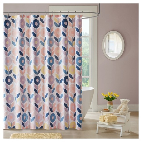 Polly Floral Cotton Printed Shower Curtain Peach Target