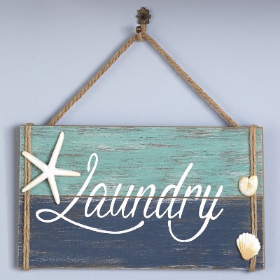 Lakeside Nautical Icons Driftwood Accent Hanging Laundry Room Sign for the Wall