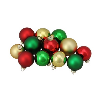 "Northlight 72ct Red and Gold 2-Finish Glass Christmas Ball Ornaments 4"" (100mm)"