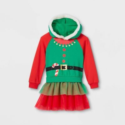 Toddler Girls' Elf Ugly Christmas Sweater Tutu Dress - Green