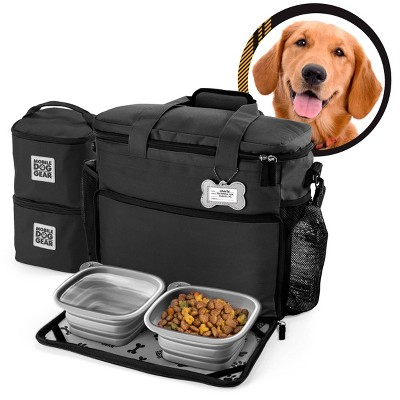 Overland Dog Gear Travel Bag - Week Away Bag for Medium & Large Dogs with 2 Food Carriers, Placemat & 2 Bowls