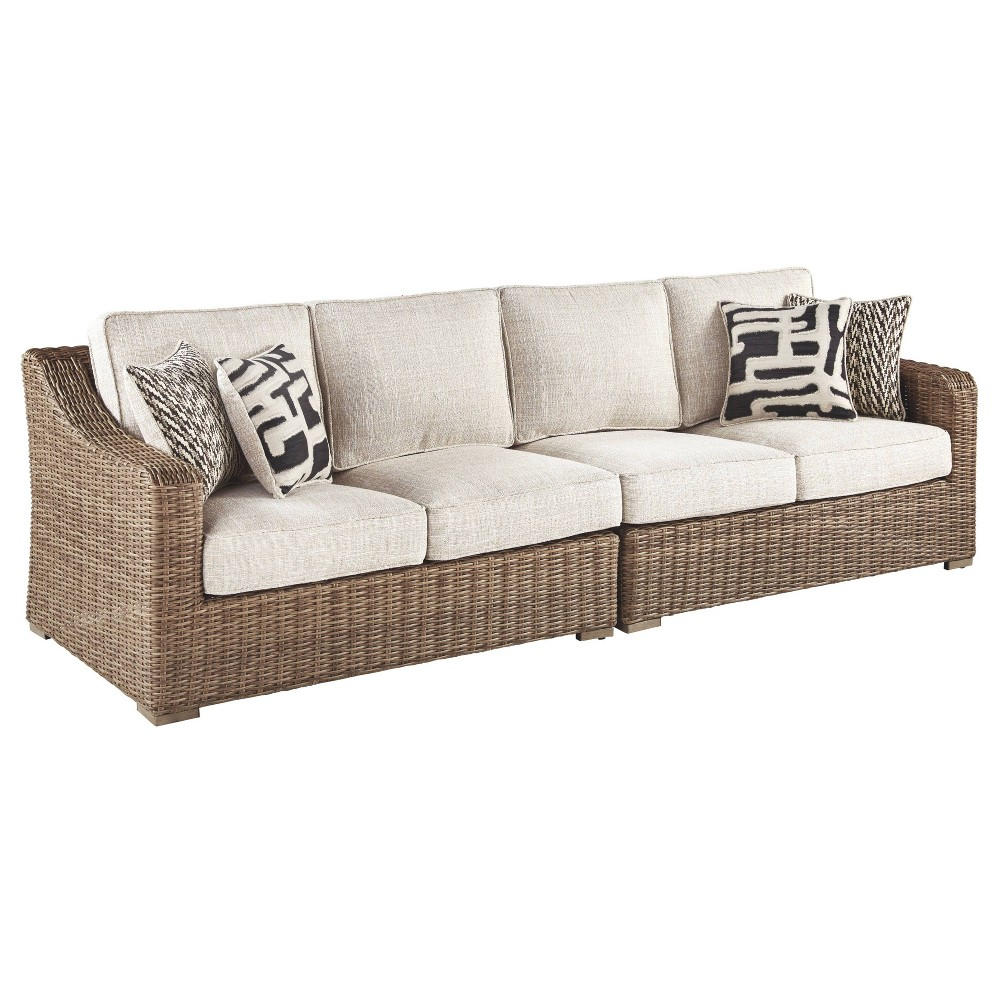 Image of Beachcroft Loveseat with Cushions - Beige - Outdoor by Ashley