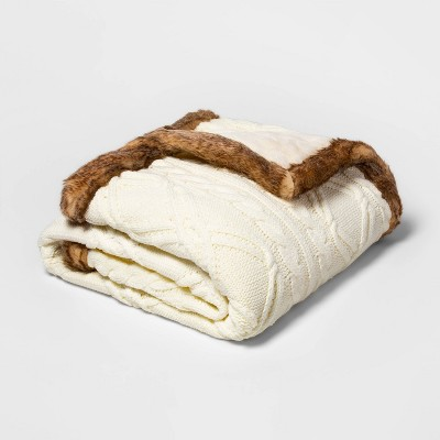 Cable Knit Throw Blanket with Mink Faux Fur Reverse and Faux Fur Trim Cream/Brown - Threshold™