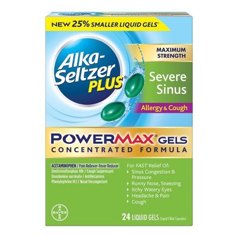 Alka-Seltzer Plus PowerMax Severe Sinus & Allergy Cough Relief Gelcaps -  Acetaminophen - 24ct