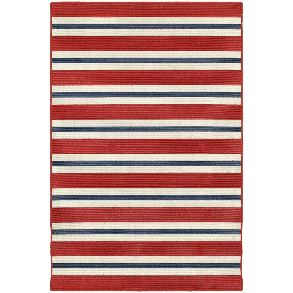 8 39 6 34 X13 39 Marlowe Striped Patio Rug Red Blue