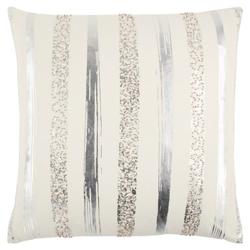 Ivory Stripe Throw Pillow - Rizzy Home - image 1 of 3