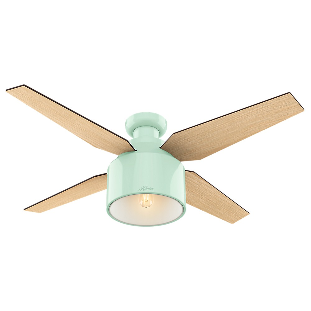 52 Cranbrook Low Profile Mint (Green) Ceiling Fan with Light with Handheld Remote - Hunter Fan