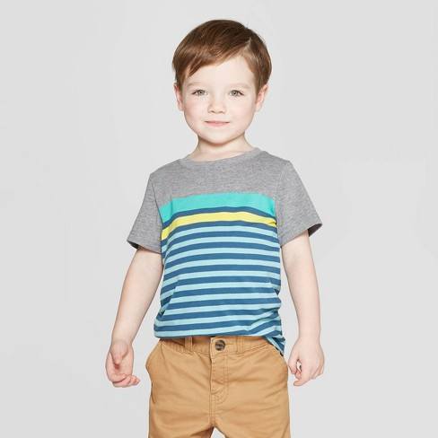 Toddler Boys' Striped Short Sleeve T-Shirt - Cat & Jack™ Gray/Blue - image 1 of 5