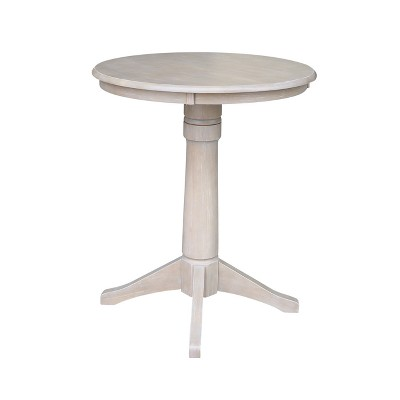 Solid Wood Round Pedestal Dining Table Weathered Gray   International  Concepts