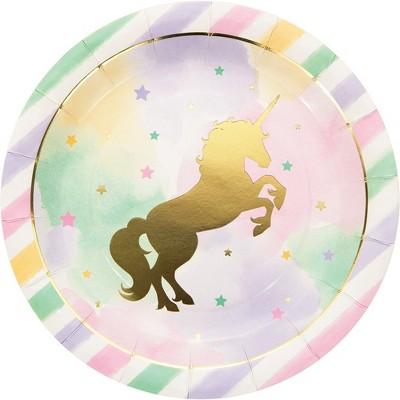 8ct Unicorn Sparkle Print Dinner Plate