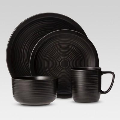 Studio Dinnerware 16-Piece Set Matte Black - Threshold™