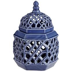 """Dahlia Studios Lachlan 12 1/4"""" High Dark Blue Ceramic Jar with Lid"""