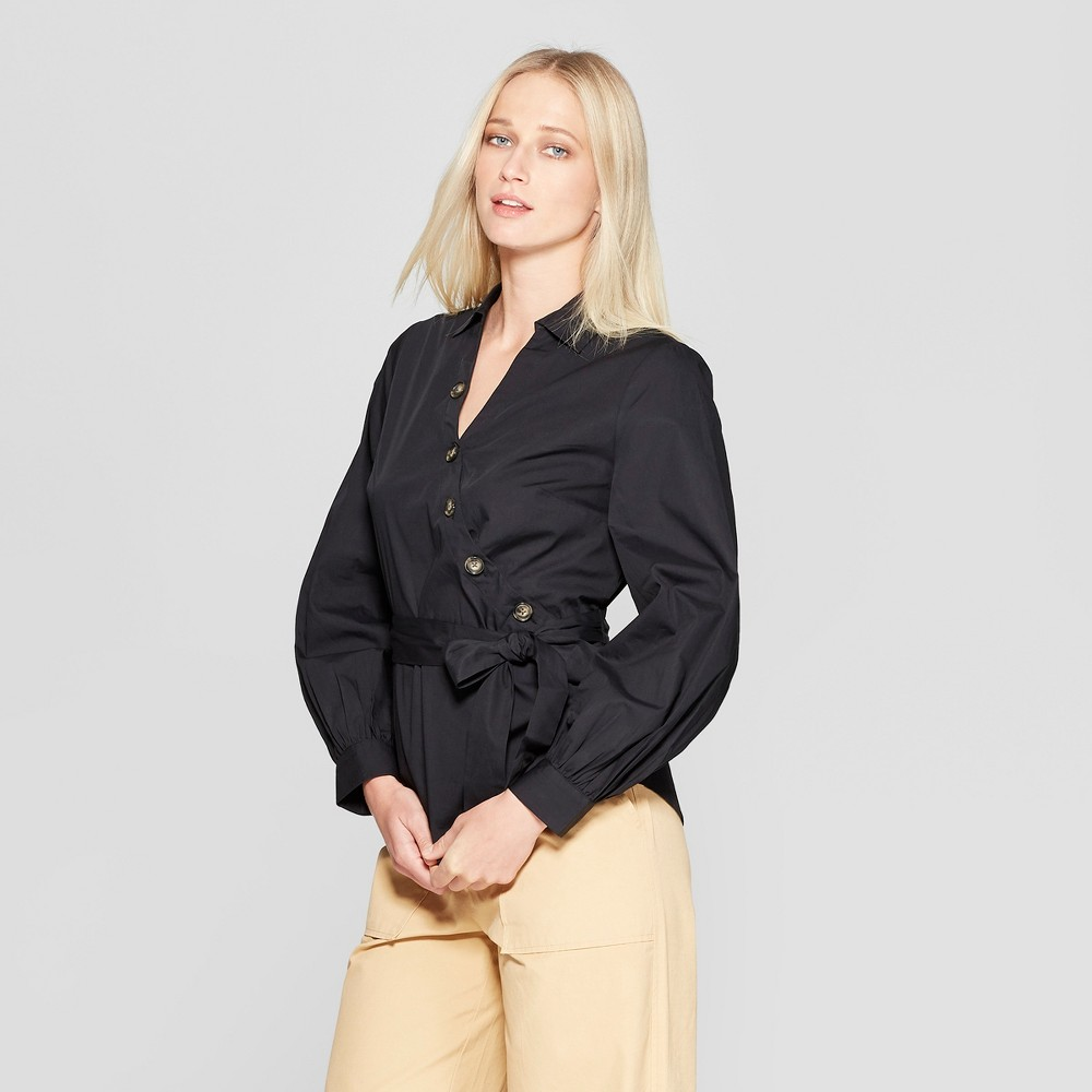 Women's Long Sleeve V-Neck Blouse - Who What Wear Black Xxl