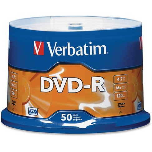 Verbatim AZO DVD-R 4.7GB 16X with Branded Surface - 50pk Spindle - 120mm - Single-layer Layers - 2 Hour Maximum Recording Time - image 1 of 2