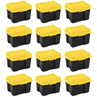 Sterilite 18319Y04 20 Gallon Heavy Duty Plastic Storage Container Box with Lid and Latches, Yellow/Black (12 Pack)