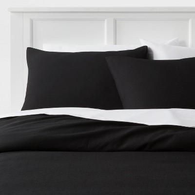 3pc Full/Queen Microfiber Textured Duvet Cover & Sham Set Black - Room Essentials™
