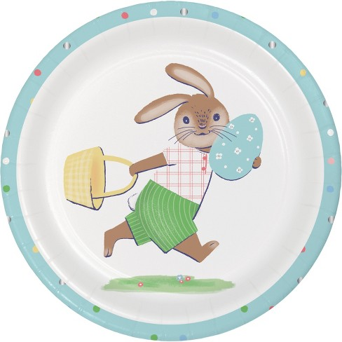 10ct Disposable Easter Plates Round Easter Bunny - image 1 of 1