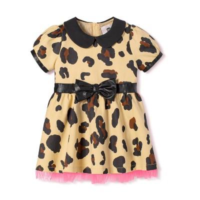 Baby Girls' Leopard Print Short Sleeve Collared Tutu Mini Dress - Harajuku Mini for Target Tan 6M