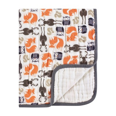 Hudson Baby Unisex Baby Muslin Tranquility Quilt Blanket Forest - One Size